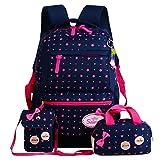 Cieovo Casual Canvas Schulrucksack - 3tlg. Set Schultaschen Schultertasche für Mädchen Jungen & Kinder Jugendliche Sternen