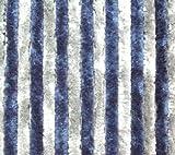Chenille Flauschvorhang Vorhang Fliegenschutz 56 x 185 cm blau-grau NEU