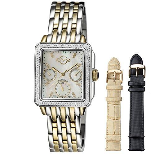 GV2by Gevril 9215de las mujeres esfera de color blanco nacarado con banda de dos tonos reloj de acero inoxidable.