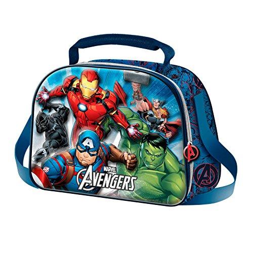 The avengers powerful-3d frühstückstasche cartella, blu