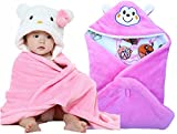 #4: BRANDONN NEWBORN Combo Of Furry Glacier Hooded Smily Baby Blanket And Premium Glacier Hooded Baby Wrapper(PACK OF 2, PINK&WHITE)