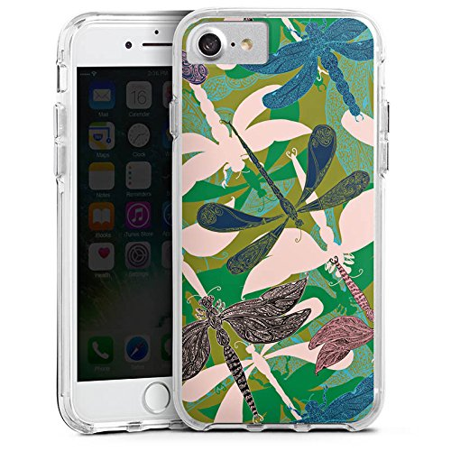 Apple iPhone 6s Bumper Hülle Bumper Case Glitzer Hülle Liebellen Flowers Blumen Bumper Case transparent