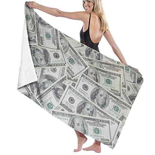 xcvgcxcvasda Badetuch, Soft, Quick Dry, Beach Towels Decor Cool USA Dollar Bill Badetuch,s Machine Washable Soft, High Absorbent, Eco-Friendly Printed Badetuch,Quick Dry 31.5