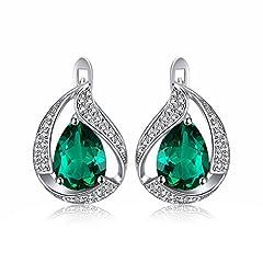 Idea Regalo - JewelryPalace Pera 3.7ct Sintetico Verde Nano Russo Smeraldo Hoop Orecchini Solido 925 Argento Sterling