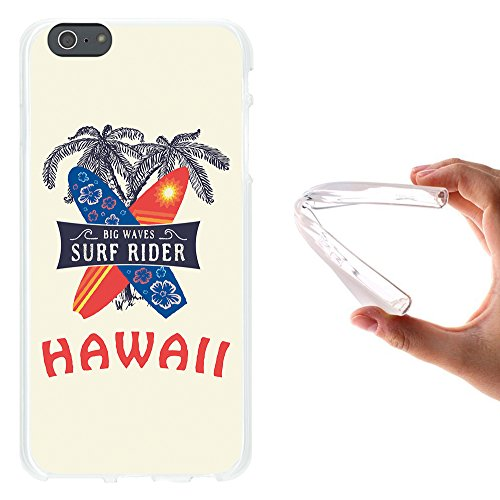 iPhone 6 Plus | 6S Plus Hülle, WoowCase Handyhülle Silikon für [ iPhone 6 Plus | 6S Plus ] Hawaii Big Waves Surf Rider Handytasche Handy Cover Case Schutzhülle Flexible TPU - Transparent Housse Gel iPhone 6 Plus | 6S Plus Transparent D0359