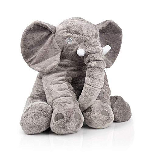 smartpillow - Elefante de Peluche | Cojín de Peluche, poliéster, gris, tamaño