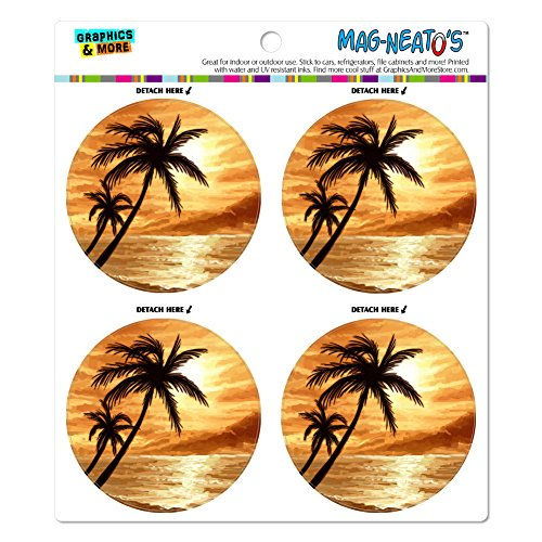 Kühlschrank Hawaii (Sunset Beach Palme Hawaii Paradise Orange Mag-Neato 's-TM) Automotive Car Kühlschrank Locker Vinyl Magnet Set)