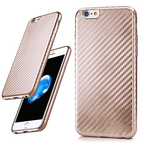 iPhone 6S Plus Hülle Silber Karbon Optik [OneFlow Pulse Back-Cover] Schutzhülle Ultra-Slim Silikon Handy-Hülle für iPhone 6 Plus / 6S + Plus Case Carbon Silikonhülle Tasche CARBON-PINK