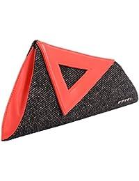 Veuza Athens Premium Jacquard And Faux Leather Black Women's Clutch