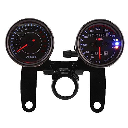 Qiilu Universal Tacómetro de 13000 RPM + Velocímetro Km/h con Indicador LED...