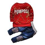 IHRKleid® Zwei Stück Classic Kinder Kapuzen-Sweatshirt + Jeans 2017 Frühling Kids Hooded Sweat (110, Rot)