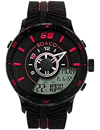 So & Co 5035.4 New York Monticello Men's Quartz Watch with Black Dial Analogue - Digital Display and Black Rubber Strap