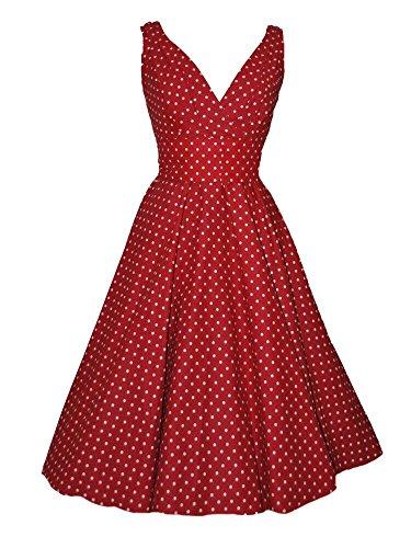 ILover Vintage Robe Année 50 V-cou Robe De Bal Style Rockabilly Swing À Pois Pin Up Rouge