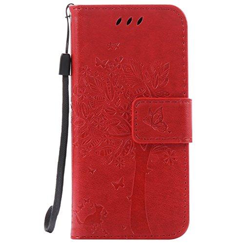 Mokyo iPod Touch 5 Hülle [mit Frei Displayschutzfolie],Folio PU Leder Brieftasche Klapphülle mit [Standfunktion][Magnetverschluss][Kartenfächer] Handyhülle Geprägt Katze und Baum Premium Muster Weich Buchstil Dünn Schale Tasche für iPod Touch 5 - Rot