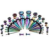 L Edelstahl-Kegel-Aurikel 36-Stück Punktions Set Ohrexpander Titan Stahl Ohr Verlängerung Body Piercing Zubehör,Colorful