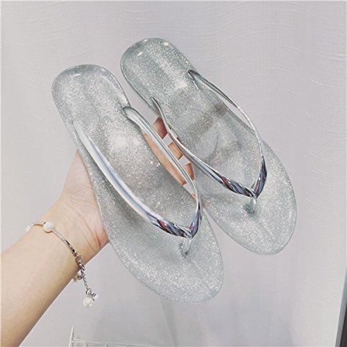 FLYRCX Semplice personalità creative ladies piedi piatti oro e argento pantofole trasparente b