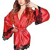 Kimono Yazidan Frau Seide Dressing Puppe Spitze Sexy Unterwäsche Bademantel Nachtwäsche Tiefer V-Ausschnitt Kleid Seidig Satin Chemise Nighties Elegant Einfarbig Schlaf-Kleid Übergröße(rot,M)