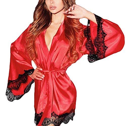 Zolimx Frauen Seide Kimono Dressing Babydoll Spitzen Sexy Dessous Bademantel Nachtwäsche Übergröße