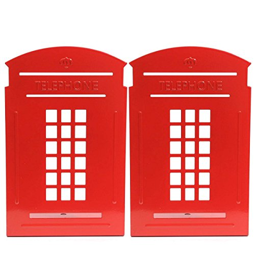 KING DO WAY Paire De Serre-livres Presse-livres Forme Cabine Téléphonique Acier Inox Bibliothèque Rangement Livres Pour Maison Bureau Bookends-Rouge