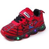 Scarpe Luminose A LED Per Bambini Sneakers Luminose Ragazzo Ragazza Bambino Nuovo Spiderman (Rojo,29EU)