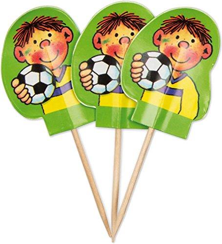 Fußball Party Motto Dekorationen (20 Muffinfähnchen * FUSSBALLER FRITZ FLANKE * von Lutz Mauder // 11159 // Kinder Geburtstag Party Kindergeburtstag Kinderparty Muffins Deko Motto Einweg Fussball)