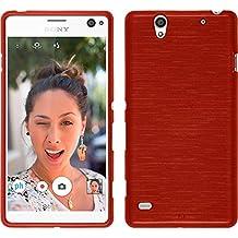 Funda de silicona para Sony Xperia C4 / Dual - brushed rojo - Cover PhoneNatic Cubierta + protector de pantalla