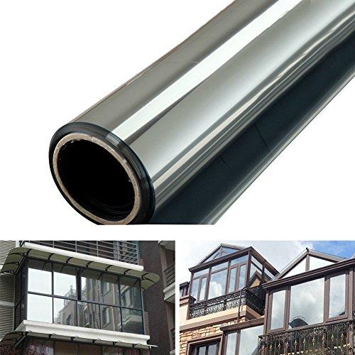 Silber Reflektierend Fenster Folie, Selbstklebend eine Weg Spiegeleffekt Day Time Privatsphäre Aufkleber Glas Tönung Solar Control Isolierung Verspiegelt Scheibentönung