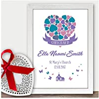 Personalised Christening Gifts for Baby Girl Daughter Goddaughter Granddaughter Print Wall Art - Handmade Custom Christening Gifts for Baby Girls Boys - A5, A4, A3 Prints and Frames - 18mm Wooden Blocks