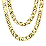 Catena d'oro Design per Uomo Catena d'oro 18 Carati Placcato Oro Cubano Catena Lunga Collana 18''