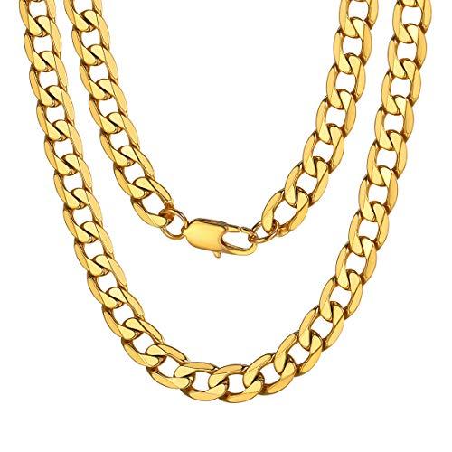 ChainsPro Diseño Italiano Collar Liso Cadena de Acera Acero Inoxidable Metal Joyería Durable