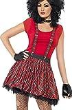Smiffys Damen Punk Kit, Tartan Tutu, Hosenträger und fingerlose Handschuhe, One Size, Rot, 35520
