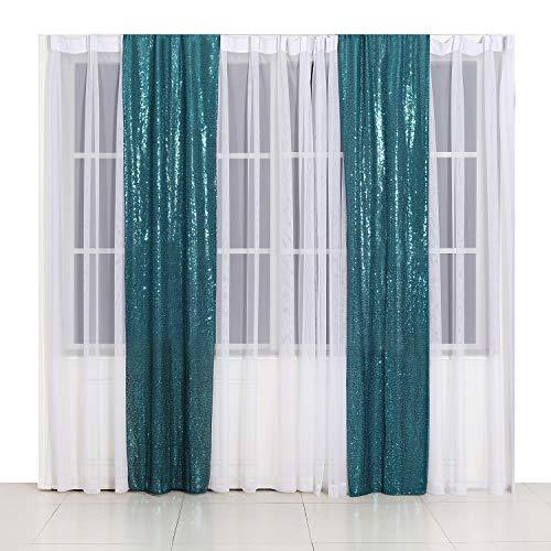 Poise3EHome Pailletten-Fotografie-Hintergrund für Party-Dekoration, blaugrün, 2x8 ft x2Pcs (Party Dekorationen Teal)