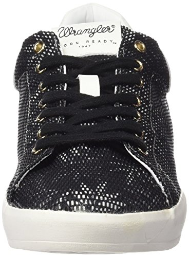 Wrangler Damen Wave Low Flower Sneakers Schwarz (357  Black / Tropical)