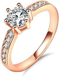 Impression 1PCS Ringe Ring Diamanten Luxus-Diamant-Ring Mode-Ring Schmuck-Girl Zubehör Valentinstag Geschenke aus Glas Hochzeit Ring offen Gold Rosa