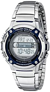 Casio - W-S210HD-1AVCF - Montre Homme - Quartz Digital - Lumière Solaire alimenté - Alarme - Chronomètre - Rétro-éclairage - Bracelet Acier Inoxydable Argent