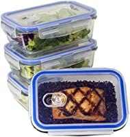 [Lot Haute Qualité de 4] Boites alimentaires en verre à 1 compartiments (830ml, rectangulaire)