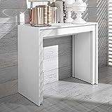 Pharao24 Design Schreibtisch in Weiß ausziehbar