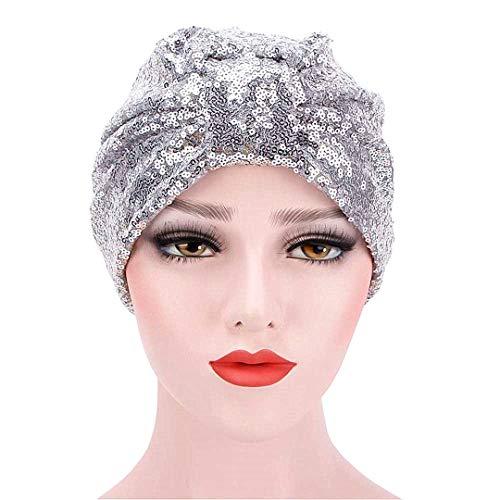Pailletten Indien Muslim Ruffle Cancer Chemo-Hut Mütze Schal Turban-Kopf-Verpackungs-Kappe (Silber)