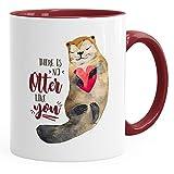 MoonWorks Kaffee-Tasse There is No Otter Like You Liebe Spruch Geschenk-Tasse Love Quote lustig verliebt Freund Freundin Bordeauxrot Unisize