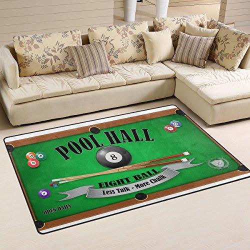 COOSUN Billard Poster Pool mit 8-Bereich Teppich, Teppich, Rutschfest, Badematte Doormats für Wohnzimmer Schlafzimmer 31x 20cm, Textil, Multi, 31 x 20 inch - Monitor Computer Zoll 20
