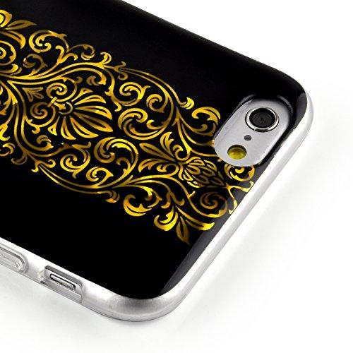 JAMMYLIZARD   Coque souple effet 3D pour iPhone 6 6s, écran 4.7 pouces, Motif baroque Noir et Argent NOIR & OR - MOTIF BAROQUE