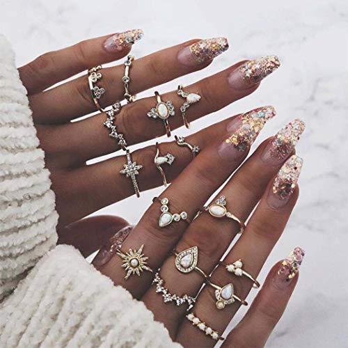 Kostüm Zirkonia Ringe - Yean Opal Kristall Ring Set Sun Joint Knuckle Ringe Vintage-Schmuck für Frauen und Mädchen