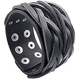 KONOV Schmuck Herren Armband, Breit Druckknopf Armreif, Passend für 18-21cm, Verstellbaren Größen Leder Legierung, Schwarz