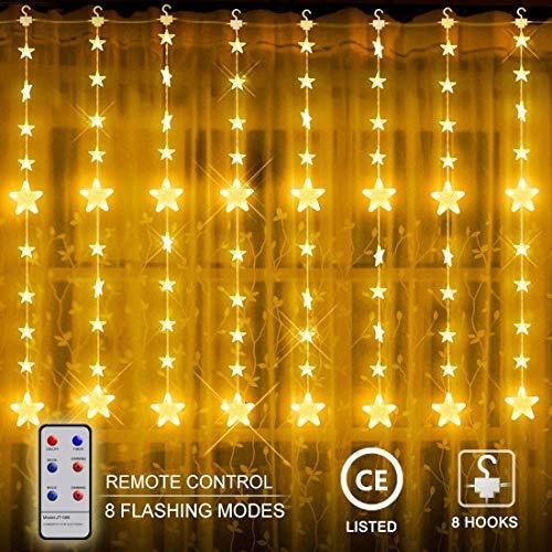 LED Lichtervorhang Lichter, LED Sterne Lichterkette, Weihnachtsbeleuchtung, 80 Sterne 144 LED Sternenvorhang, Innen/Außen String Licht, Weihnachtsdeko Advent, 2 x 1.5 m 8 Modi, Kupfer, Warmweiß