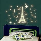 Xshuai Glow In The Dark Eiffelturm Sterne Wandaufkleber Kinder Schlafzimmer Fluoreszierende Wand Home Dekore (Grün)