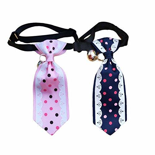 [Punkte] 2 Stück Hundehalsband-Charme-Krawatte Welpen-Querbinder-Katzen-Kragen-Haustier Bell -