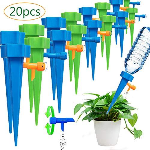 BETOY 20 pcs Automatisch Bewässerung Set , Bewässerungs-Spikes, Bewässerungshilfe, Wasserspender,Einstellbar Garten zur Pflanzen Bewässerung Blumen Zimmerpflanze ideal als Urlaubsbewässerungssystem