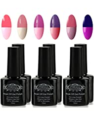 Perfect Summer Shellac UV LED Gel aufloesbarer Nagellack 10ml Farbwechsel Thermo Gel Gellack Full Shimmer,Nagelgel Farbgel Farblack (6 x 10 ml) Set #011