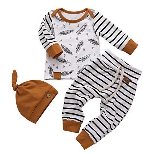De feuilles Baby 3pcs Bekleidungssets Unisex Kinder Kleidungssets Mütze Feder Druck Langarmshirts Streifen Hosen