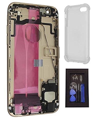 iRenovo® Coque Arrière Assemblée Complète de Remplacement pour Apple iPhone 6S Or (Gold) (Châssis Complet,Nappe connecteur de charge, Nappe et Bouton allumage, Nappe et Boutons Volume, Nappe et Bouton Vibreur, Prise Jack, Haut-parleur, Éjecteur et Tiroir Carte SIM, Autocollant Batterie) + Coque de protection transparente haut de gamme + Set de vis complet & Outils de réparation fournis (8 Pièces)